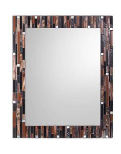 Mosaic Wall Mirror Black Brown & Silver by opusmosaics on Etsy. Great for bathroom vanity. Mirror Mosaic, Mosaic Wall, Wall Mirror, Custom Mirrors, Wall Anchors, Stone Mosaic, Black Mirror, Hanging Wire, Frame