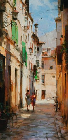 Township. Figure Painting, Painting & Drawing, Landscape Art, Landscape Paintings, Beautiful Paintings, Painting Techniques, Fine Art, Cityscapes, Nature