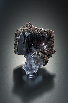 Fluorite & Siderite - Boltsburn West Mine, Rookhope, Weardale, Co. Durham, England, UK Size: 4.0 x 3.2 x 2.5 cm