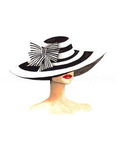 "LINE BOTWIN ""Girly illustrations"" #chic #fashion #girly #illustration   Striped Derby Hat Vintage Inspired Fashion Illustration Print, Giclee Print, Watercolor Art Print, 8X10 Decor"