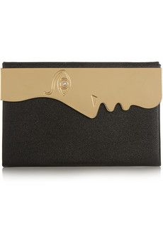 Charlotte Olympia Vanina's Profile gold-tone and textured-leather clutch   NET-A-PORTER
