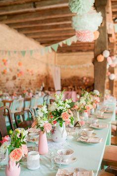 peach pink and mint green wedding table decor / http://www.himisspuff.com/peach-mint-wedding-color-ideas/3/