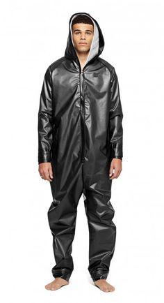 Check out the Rain Jumpsuit Transparent Black. High quality onesie made of premium thermoplastic polyurethane. Adidas Jumpsuit, Camouflage Jumpsuit, Tactical Uniforms, Mens Onesie, Rain Suit, Boiler Suit, One Piece Suit, Rain Wear, Black Men