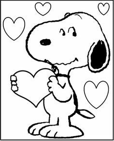 Snoopy Valentines coloring picture for kids