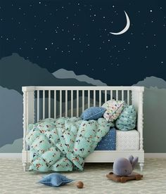 navy night sky with mountains removable wallpaper,geometric mountains nursery decor,Peel & Stick wall paper,moon stars kids room wall mural, #decorPeel #kids #mountains #mural #Navy #night #nightskypaintingacrylic #nightskypaintingeasy #nightskypaintingeasystepbystep #nightskypaintingtutorial #nightskypaintingwatercolor #nursery #papermoon #removable #room #sky #starrynightskypainting #stars #Stick #wall #wallpapergeometric Sky Nursery, Nursery Themes, Nursery Room, Nursery Decor, Galaxy Nursery, Nursery Wall Murals, Nursery Ideas, Room Ideas, Nursery Wallpaper