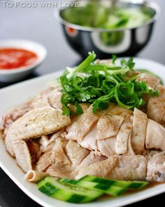 Hainanese Chicken Rice - Asian comfort food! I make mine with brown rice and serve with a ginger scallion sauce (ginger, green onions, Himalayan sea salt, grapeseed oil, dash of rice wine vinegar).