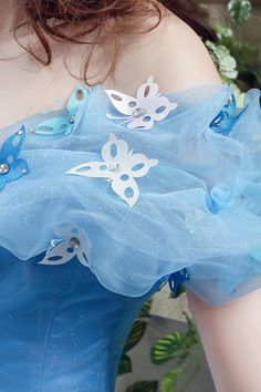 2016 Cinderella Graceful Ocean Blue Tulle Ball Gown Quinceanera Dresses Off Shoulder Butterflies Beaded Floor Length Prom Gowns CPS239