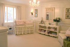 This nursery shows the Madison crib with more furniture from the French Collection.