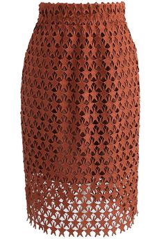 Twinkle Star Crochet Pencil Skirt in Tan - New Arrivals - Retro, Indie and Unique Fashion