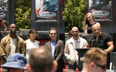 Tyrese Gibson, Michelle Rodriguez, Jason Statham and Vin Diesel were on hand for the 'Fast & Furious: Superchared' ride.