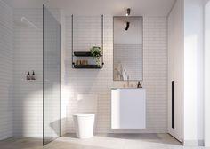Bathroom inspo via Loft Bathroom, White Bathroom Tiles, Bathroom Inspo, Bathroom Layout, Bathroom Inspiration, Modern Bathroom, Small Bathroom, Bathroom Ideas, Basement Bathroom