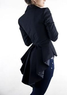 .a blazer that looks like a male tails tux jacket but for a women love!