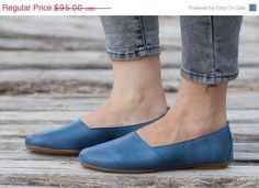 Valentines Day Sale 20%, Free Shipping, Blue Leather Shoes, Blue Shoes, Loafers, Flat Shoes, Blue Slip Ons