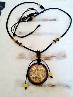 Adjustable Black Silk Cord Necklace with Celtic Knot Pocelain Pendant | stonemountainjewelry - Jewelry on ArtFire