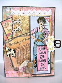 Farm Chicks card by Kathy Clement using Down on the Farm Digital Stamp Set and paper from Crafty Secrets