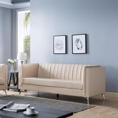 Upgrade your space with this elegant sofa set featuring pleated back design and angled metal legs. The pocket coil cushions provide firm seating and the microfiber backed faux leather is soft yet sturdy and easy to clean. Tan Sofa, Beige Sofa, Elegant Sofa, Office Sofa, White Cushions, Contemporary Sofa, Fabric Sofa, Sofa Set, Legs