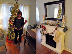 DIY -- recycled holiday garland made from old t-shirts