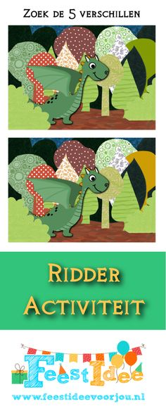 Zoek de 5 verschillen, de draak in het bos. Leuk voor een ridderthema.