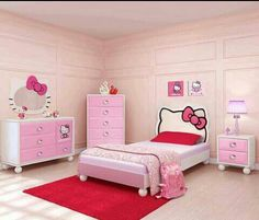 *hello kitty bedroom~love that mirror over the dresser*