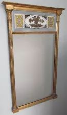 EXQUISITE EARLY 19TH CENTURY FEDERAL PERIOD EGLOMISE PANELED GOLD GILDED MIRROR Boston Furniture, Early American Furniture, Gold Gilding, Colonial, Mirror, Antiques, Home Decor, Image, Antiquities