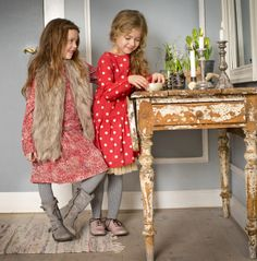 aw14: Girls glam it up in Wheat dresses and one right-off-the-runway faux fur vest. www.wheatusa.com,