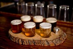 Great little beer sampler tray made out of a cut from a log...