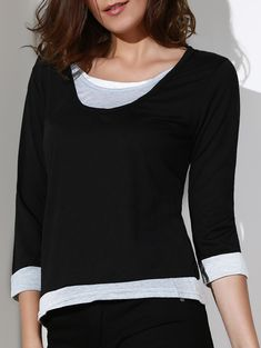 Casual Color Spliced Scoop Neck 3/4 Sleeve T-Shirt For Women