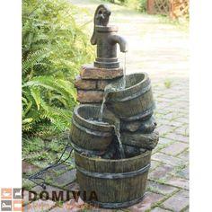 Brunnen In Holz /Steinoptik Mit Kaskade L34xB34xH75 Cm Garten Deko