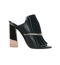 Proenza Schouler leather sabot with fringes and golden heels - Photo: Courtesy of lindelepalais.com (=)