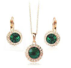 White Gold Crystal Pendant Jewelry Set