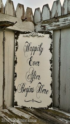 HAPPILY EVER AFTER Begins Here Sign, Vintage Wedding Sign, Shabby Chic Sign, Happily Ever After Sign