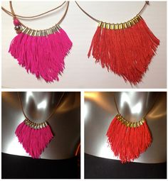 Oro o plata de collar de flecos color rosa por VickiLeighJewellery