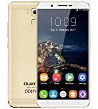 Oukitel U16 Max Smartphone Pantalla 6,0 Pulgadas HD Android 7.0 OTG MTK6753 Octa Core 64bit Memoria 3GB RAM 32GB ROM Cámara 13MP & 5MP Batería 4000mAh Huellas Tactilares Dual Sim, Dorado