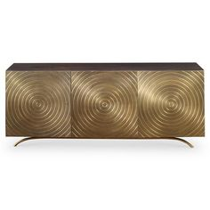 Val Modern Regency Gold Vented Media Cabinet | Kathy Kuo Home