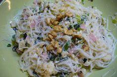 Jak připravit rýžové těstoviny s nivovou omáčkou   recept