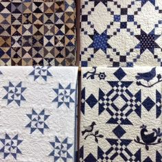 "Blue and White quilts from Temecula Quilt Co *I like the ""Martha Washington Star"" with the pinwheel center"