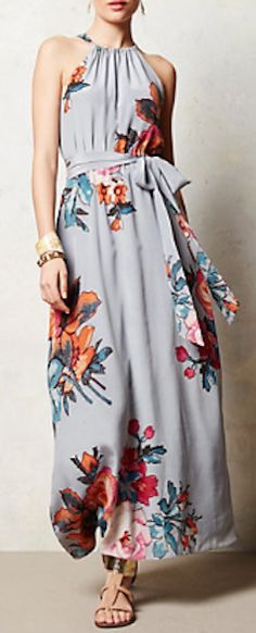 lovely floral #grey maxi dress  http://rstyle.me/n/jprd9pdpe