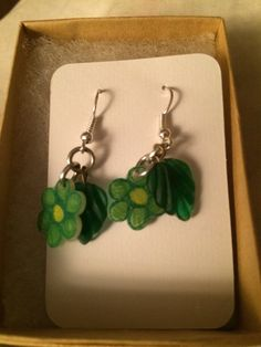 Green Flower Earrings with Leaves by inthespicerack on Etsy