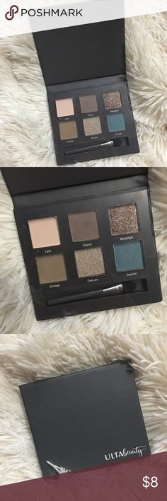 Eyeshadow Palette New. Ulta Eyeshadow Palette with 6 colors and an applicator. Colors are Lace, Charm, Nostalgia, Vintage, Delicate, and Seaside. Product is still sealed.                                                        Pet Friendly Home  Smoke Free Home  No trades  Offers, Bundles, and Questions Encouraged  Ulta Makeup Eyeshadow