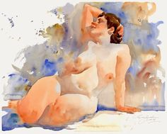 Ewa Ludwiczak Nude in watercolor