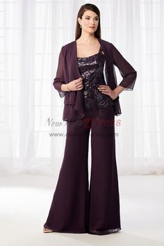 Dark Gray Wedding Mother Of The Bride Dresses Chiffon Pants Suits Outfits Custom