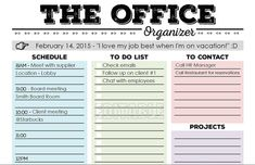 This Office Organizer printable is designed to help you to stay organized at-a-glance when youre at work!  Just fill in the gray section (where the pointing hand is) with the date, a motivational quote, or whatever else you want.  Then fill in the different sections:  - Schedule  - To Dos  - To Contact  - Projects  - Notes   In addition to having a fun, simple, and modern design, I tried to make sure that this organizing worksheet is:  1. User friendly  2. Printable AND *editable  3. Has…