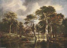 La Chasse (2), huile sur toile de Jacob Isaakszoon Van Ruisdael (Ruysdael) (1628-1682, Netherlands)