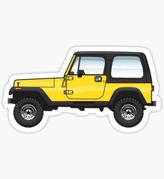 """""""YJ Yellow Wrangler"""" Stickers by JRLacerda Tumbler Stickers, Jeep Stickers, Snapchat Stickers, Macbook Stickers, Phone Stickers, Cool Stickers, Mac Stickers, Phone Decals, Planner Stickers"""