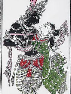 Ganesha Art, Krishna Art, Radhe Krishna, Radha Krishna Sketch, Krishna Lila, Kerala Mural Painting, Art Painting Gallery, Black Canvas Paintings, Indian Art Paintings
