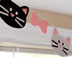 Gato guirnalda gatos gatito kitty la por TheLittlePartyShopNY