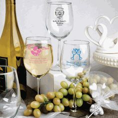 Personalized 12 ounce wine goblets are perfect as wedding favors or choose a design for any celebration. The wine glass is tall and in diameter glass are memorable mementos. Champagne Flute Favors, Personalized Champagne Flutes, Personalized Wine Glasses, Personalized Wedding Favors, Personalized Gifts, Personalised Wine, Cheap Favors, Wedding Favors Cheap, Wedding Ideas