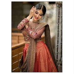 Indian Bridal Outfits, Indian Bridal Fashion, Indian Fashion Dresses, Indian Designer Outfits, Indian Engagement Outfit, Wedding Lehenga Designs, Lehenga Saree Design, Function Dresses, Half Saree Designs