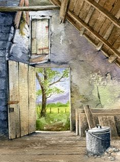 Watercolours - Photo Gallery Watercolor Painting Techniques, Watercolor Projects, Sketch Painting, Watercolor Landscape, Watercolour Painting, Landscape Art, Watercolors, Learn Art, House Painting