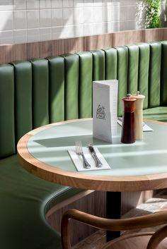 Eat Drink Design Awards – Famous Last Words Architecture Restaurant, Restaurant Interior Design, Cafe Interior, Banquet Seating, Booth Seating, Plywood Furniture, Dining Furniture, Restaurant Tables, Cafe Restaurant